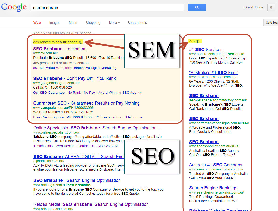 SEO and SEM as seen in Google's search results