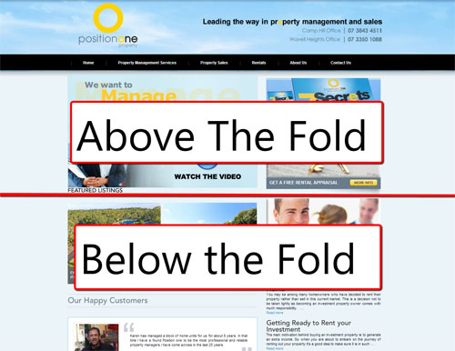 Above and below the fold of a website