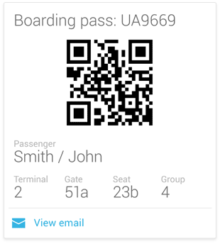 QR code of a boarding pass